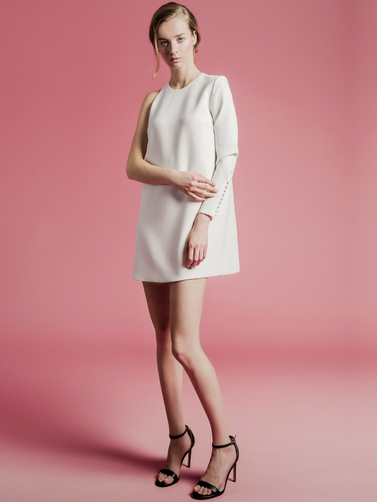 Sophie Et Voilà short one shoulder long sleeve wedding dress spring 2021