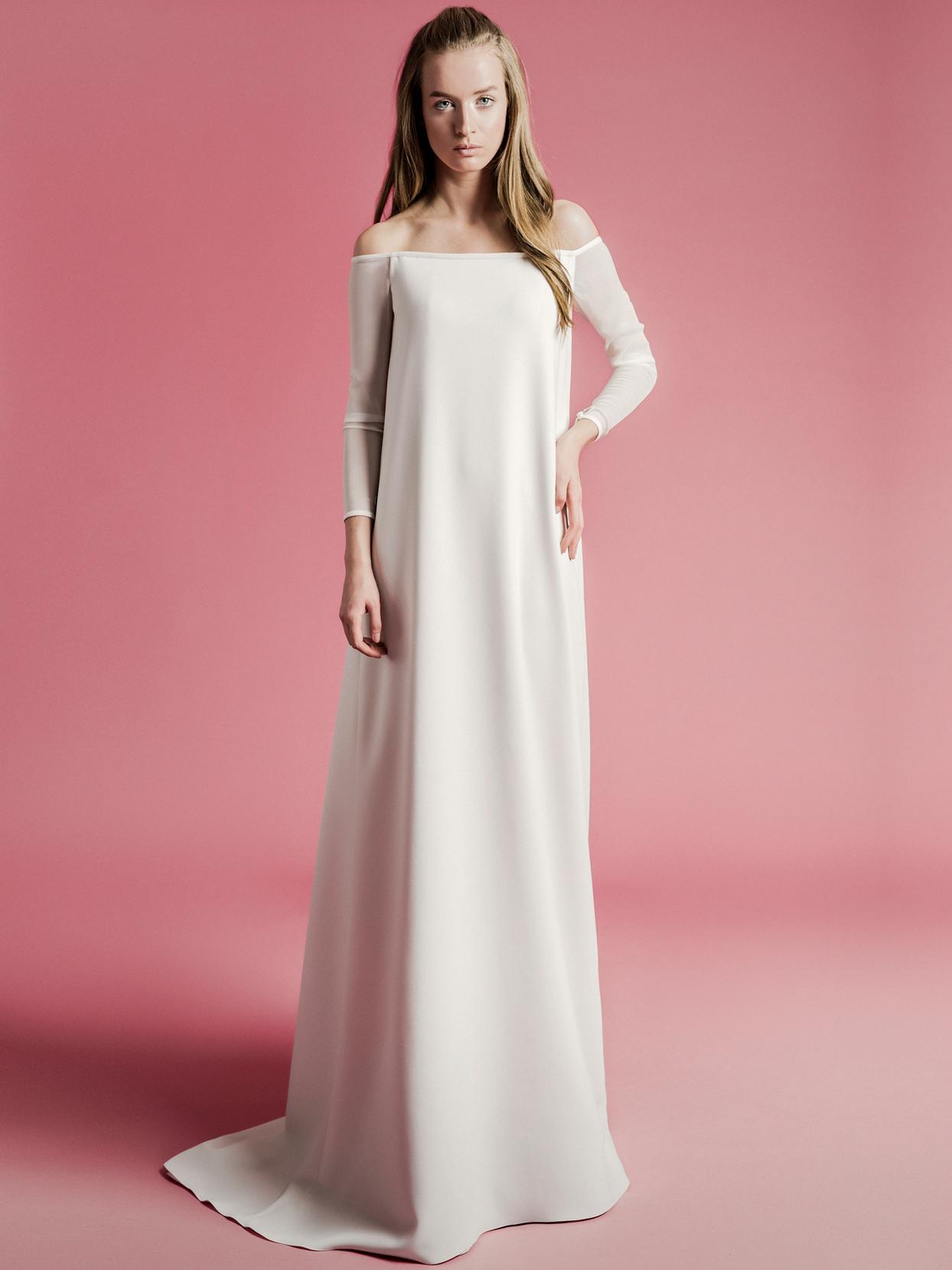 Sophie Et Voilà off-the-shoulder long sleeve sheath wedding dress spring 2021