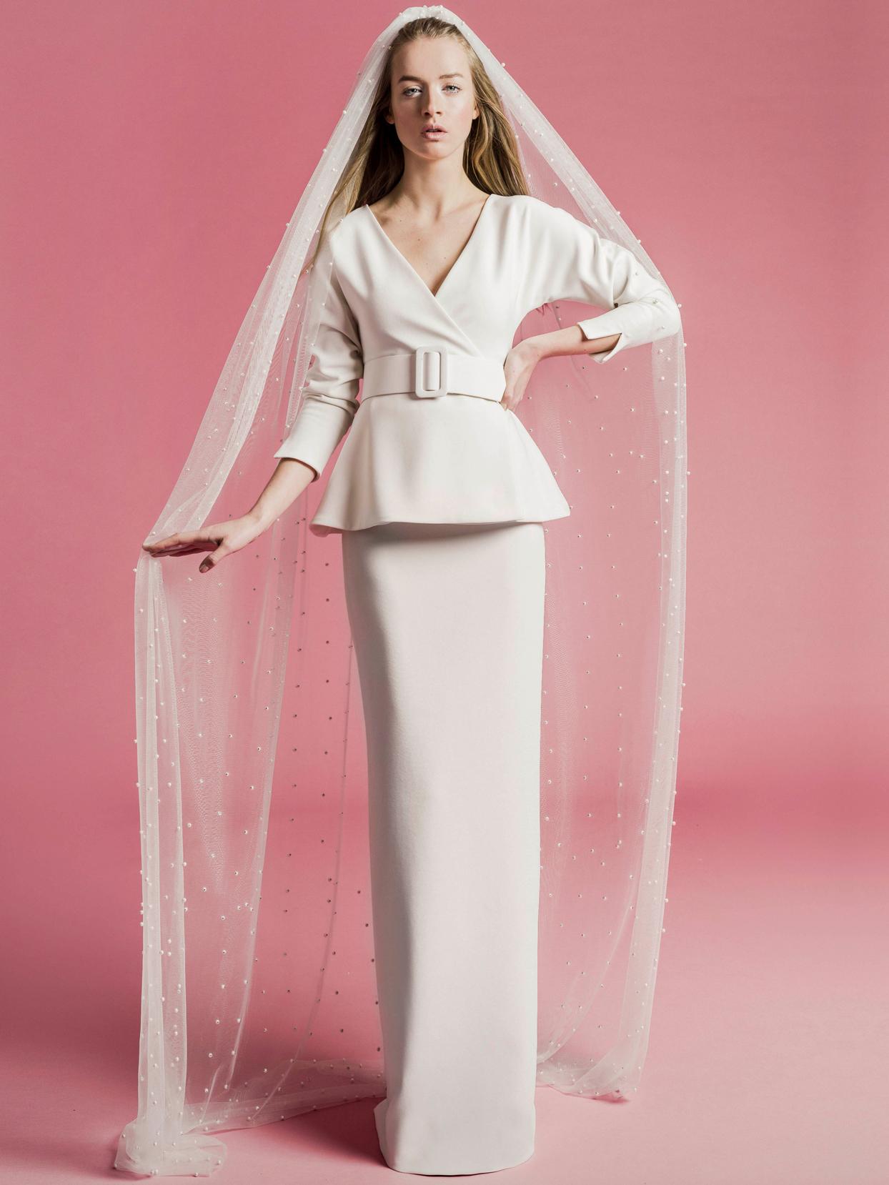 Sophie Et Voilà v-neck long sleeve belted peplum wedding dress spring 2021