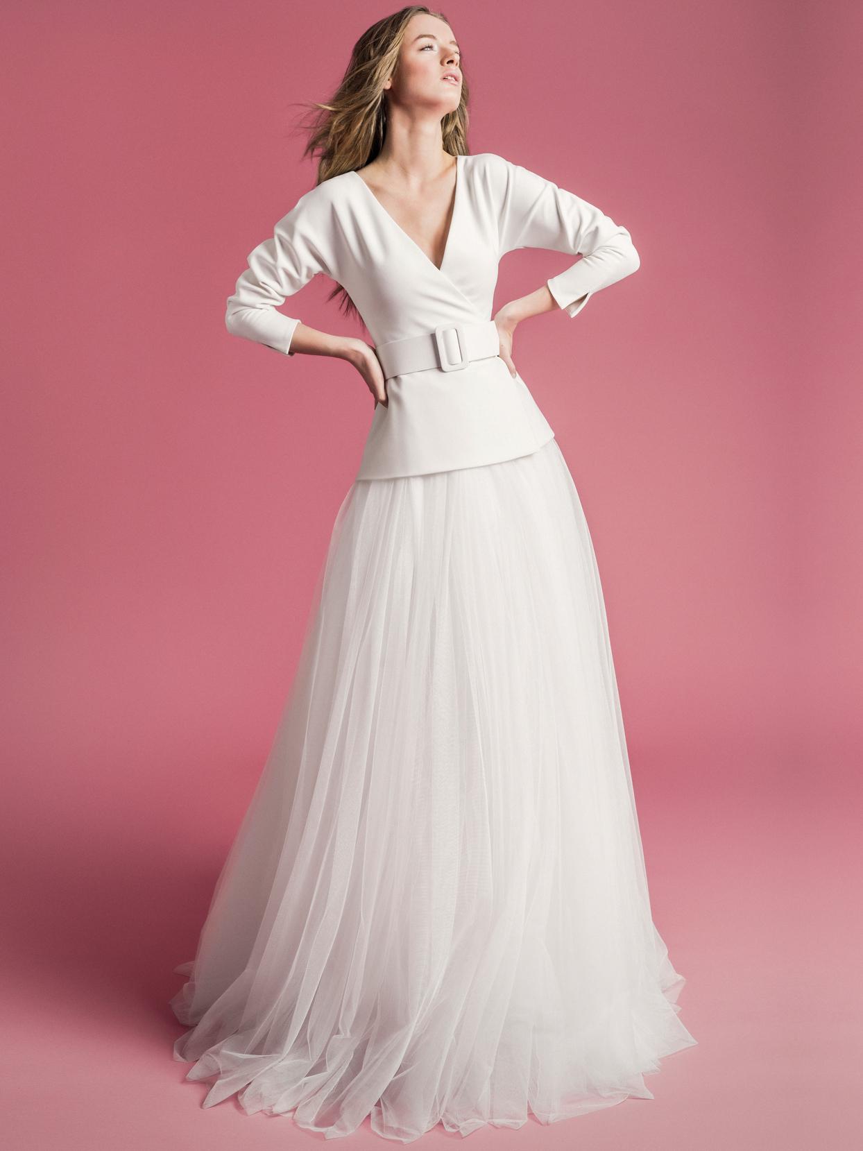 Sophie Et Voilà long sleeve belted v-neck tulle skirt wedding dress spring 2021