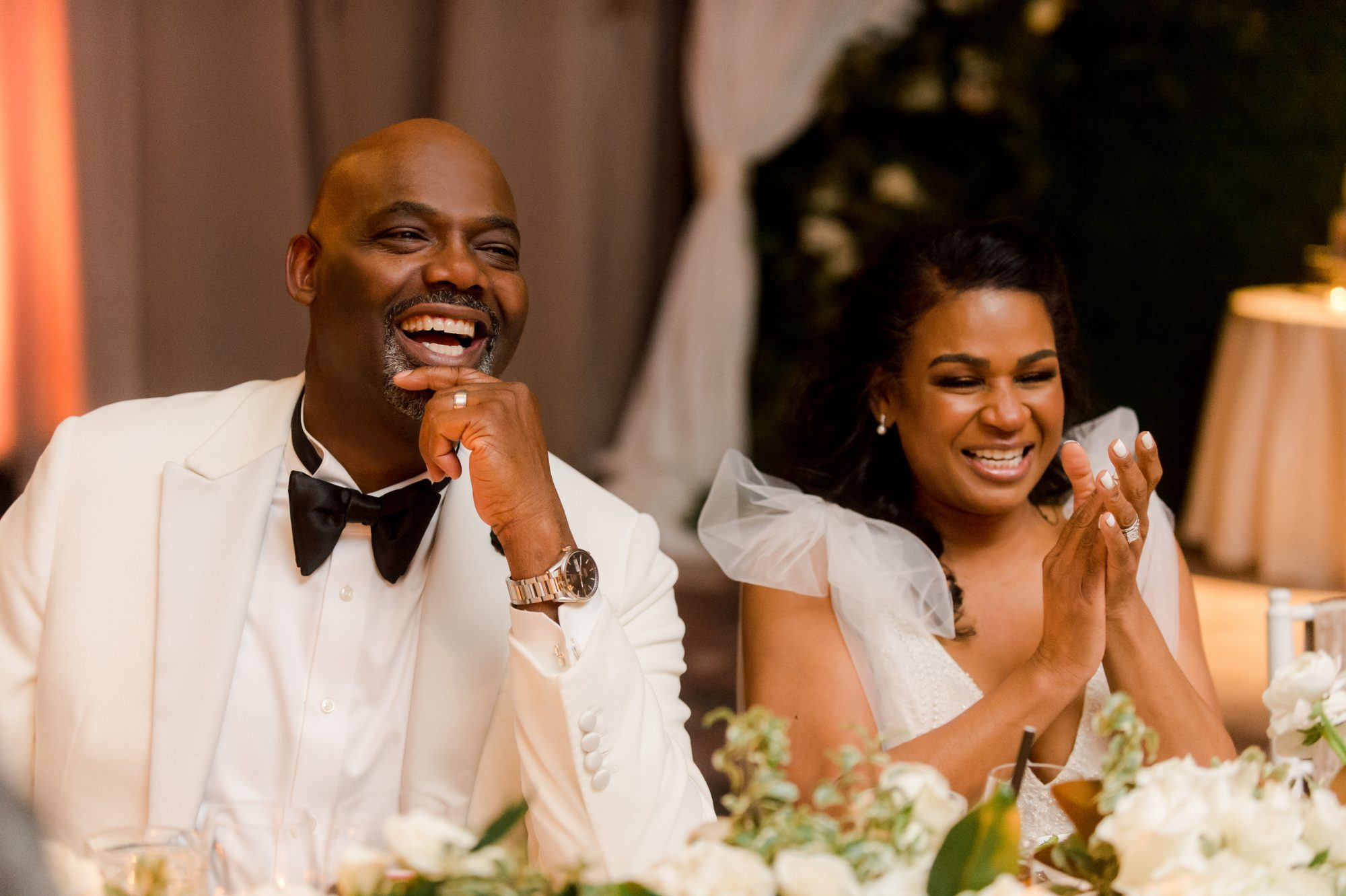 denita john wedding reception couple