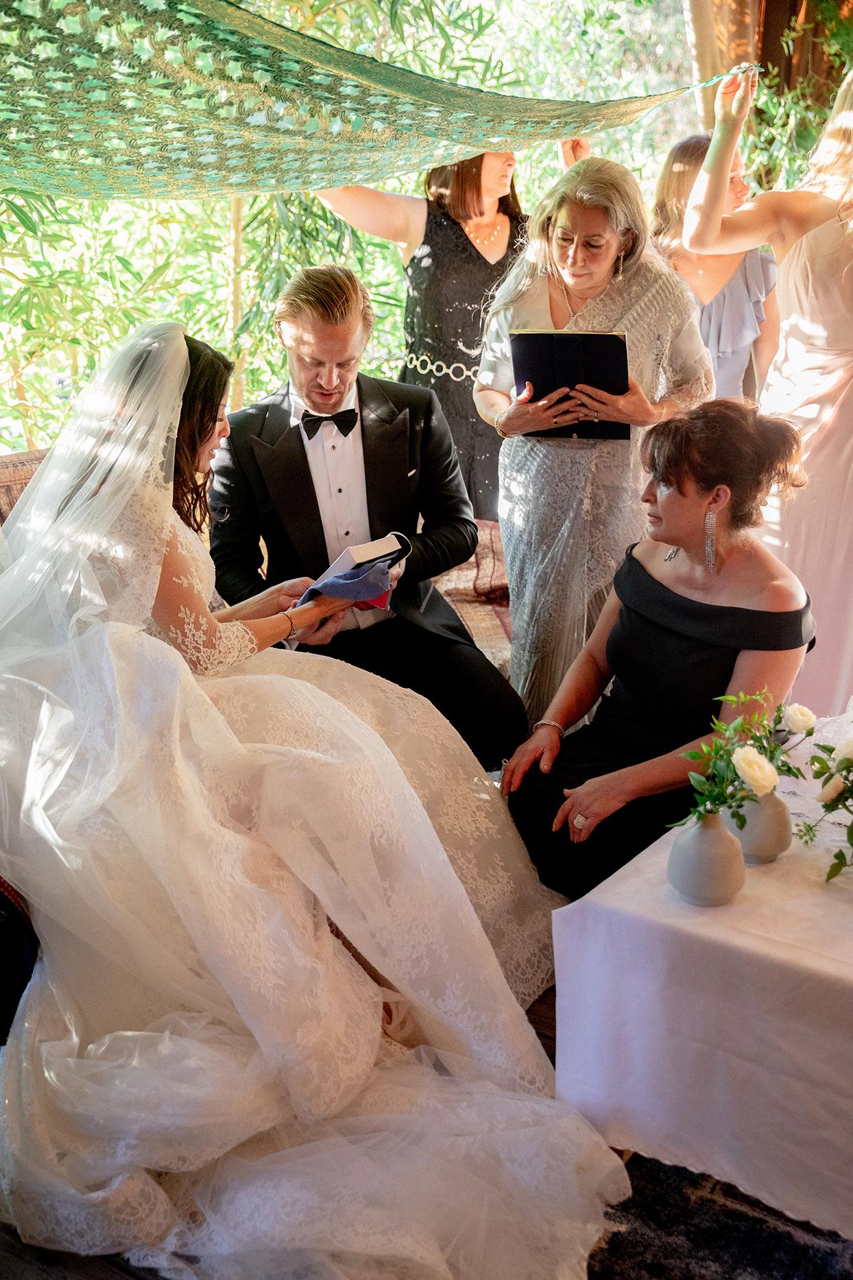 bride and groom wedding aaina mussaf ceremony