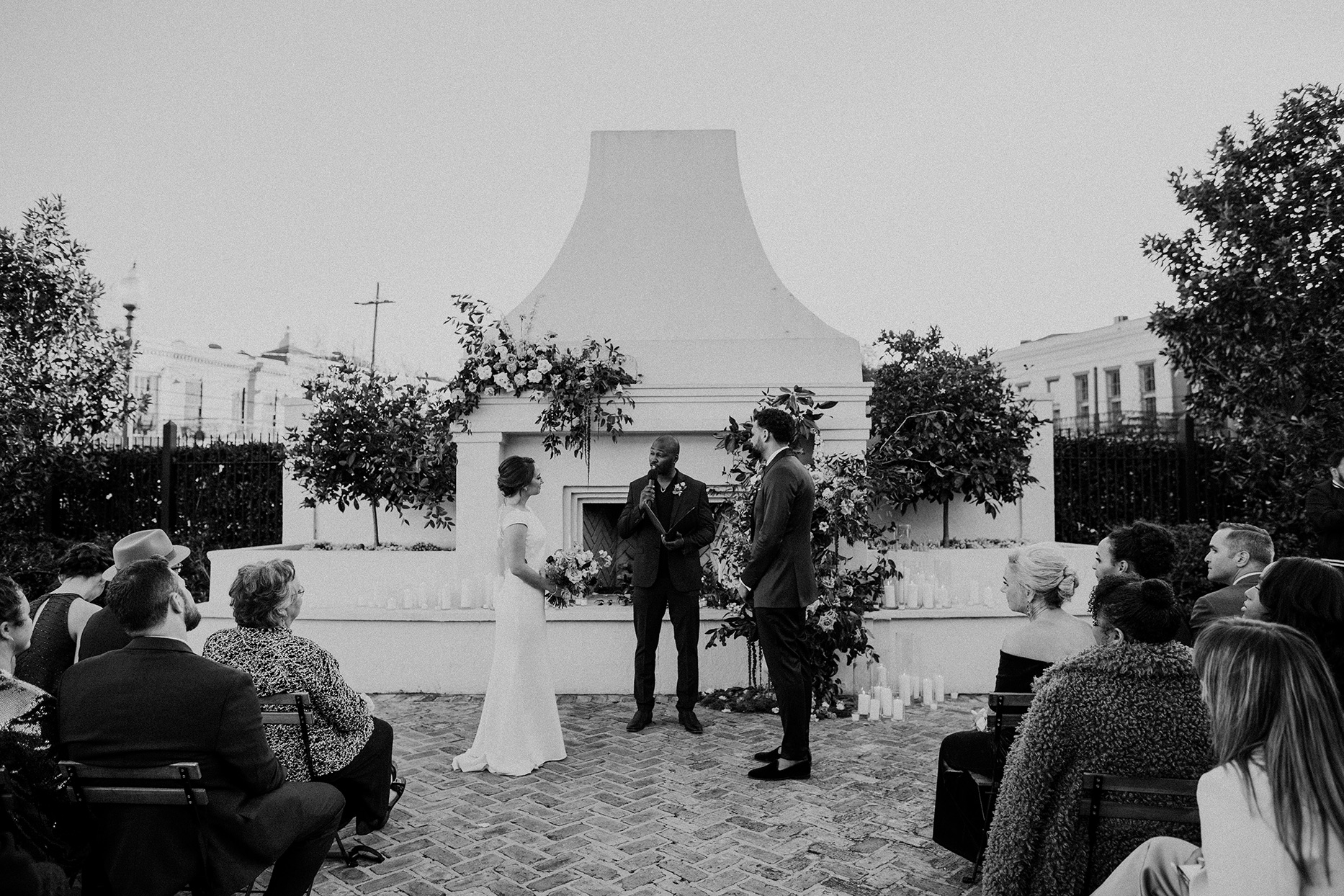 wedding ceremony couple with officiant