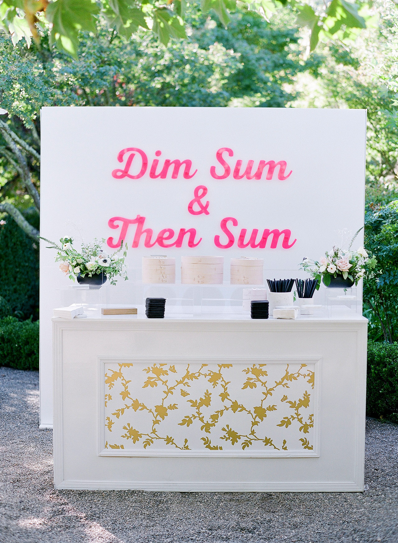 gillian tyler wedding cocktail hour dim sum station