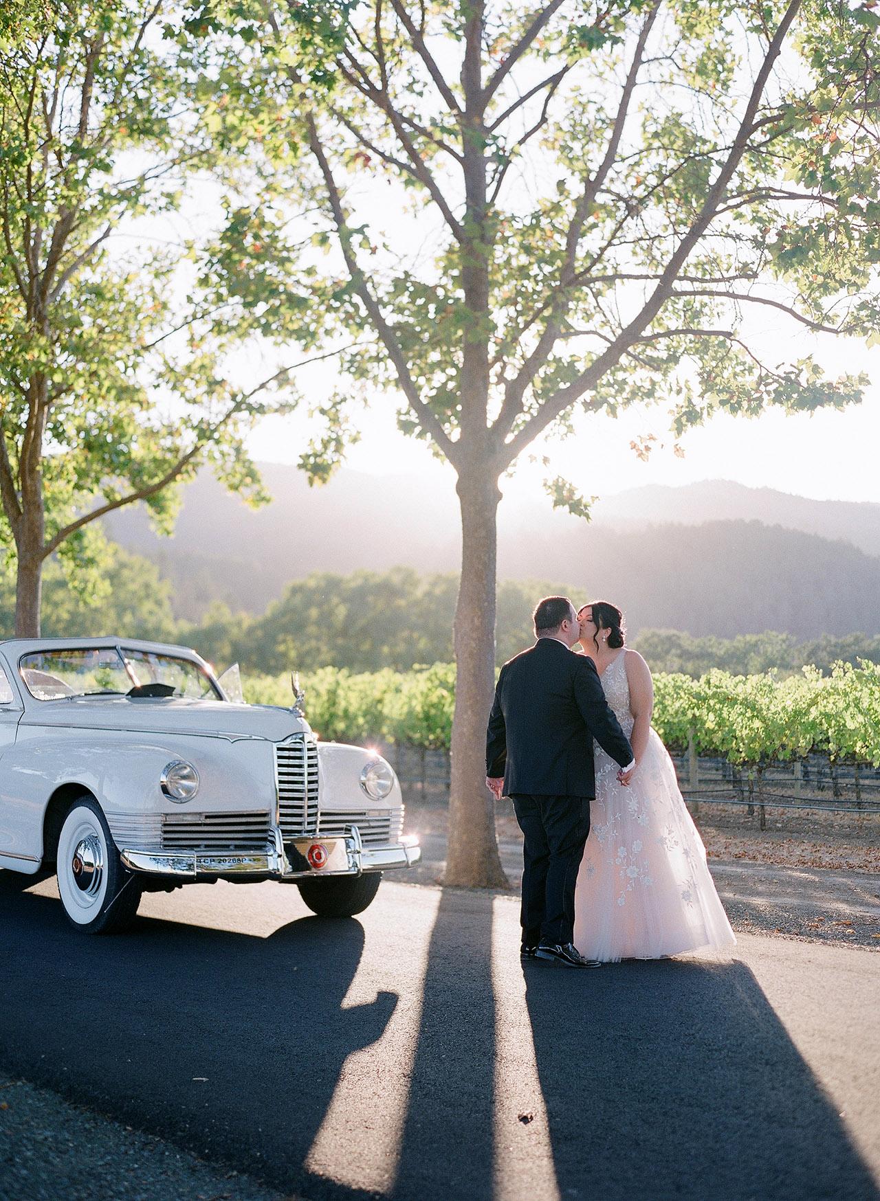 gillian tyler wedding couple vintage car