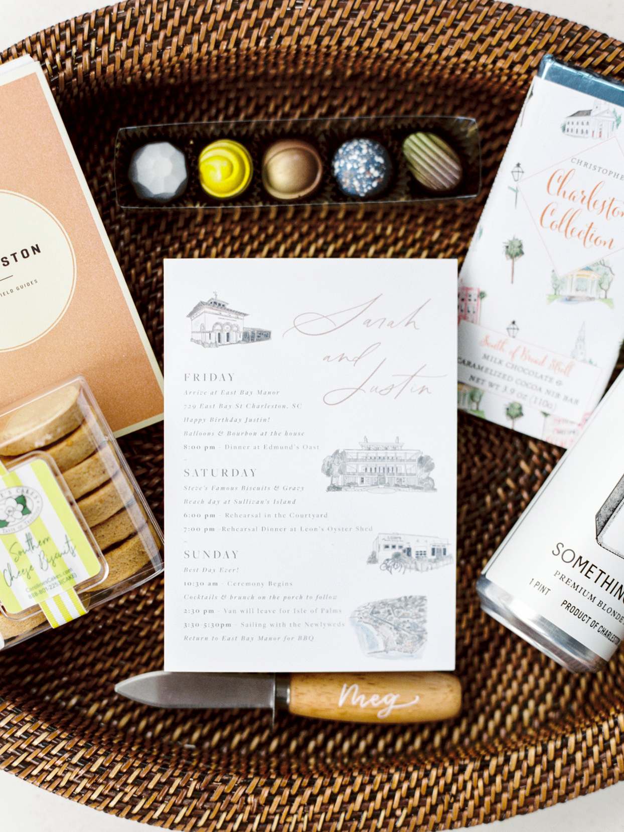 wedding welcome bag with various gifts