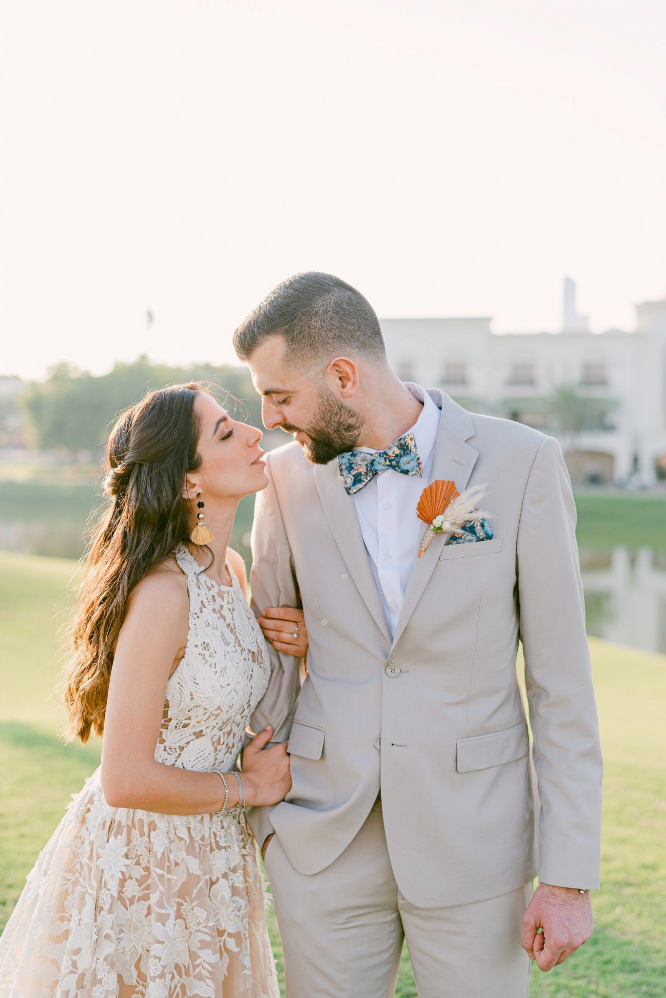 wedding couple pre-kiss portrait outdoors