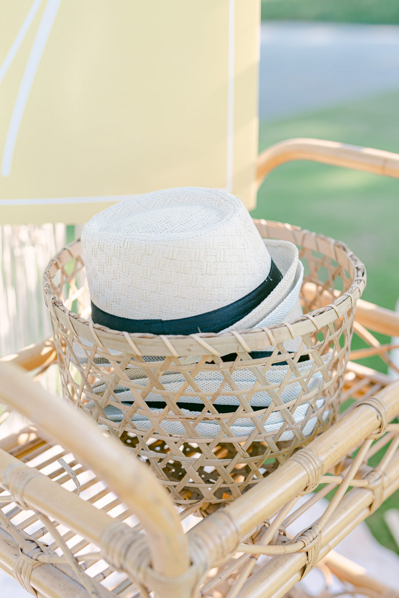 basket of white hats