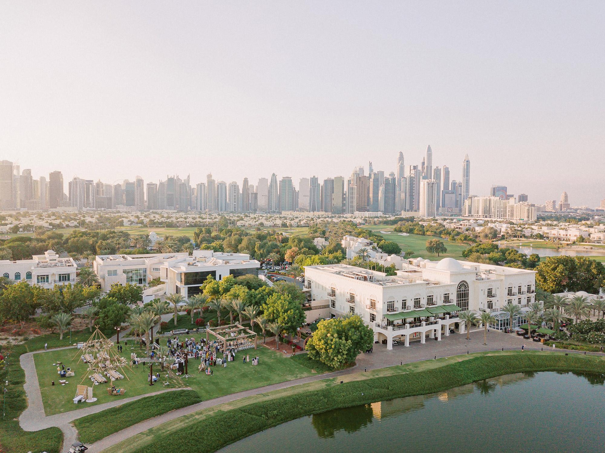aerial shot of reception area in Dubai