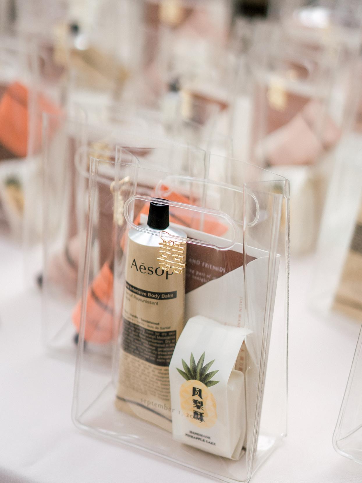 transparent bag of wedding favors