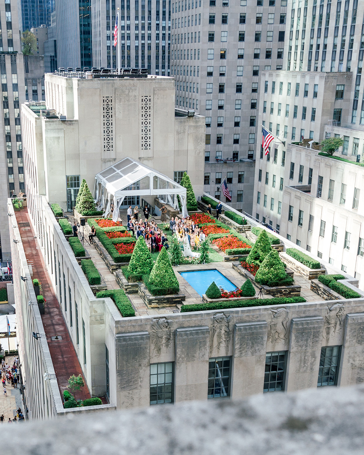 from above view on rooftop garden wedding ceremony