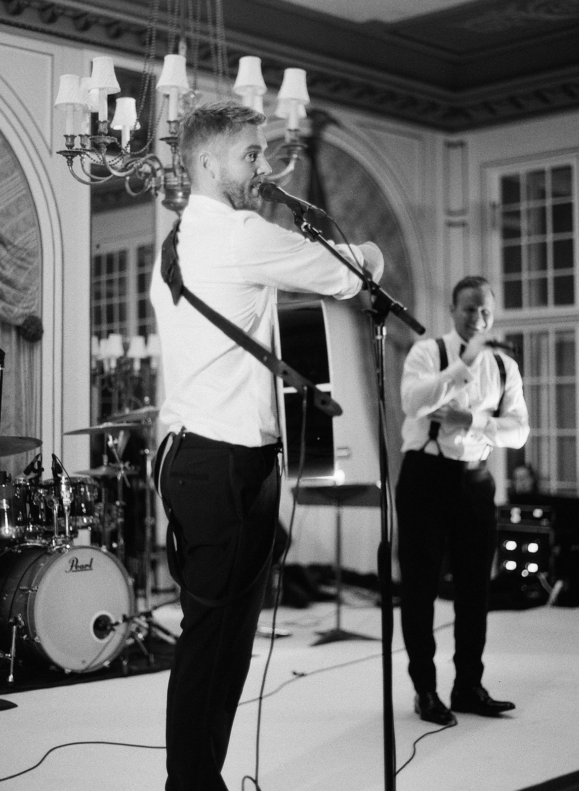 black and white photo Brett Young singing