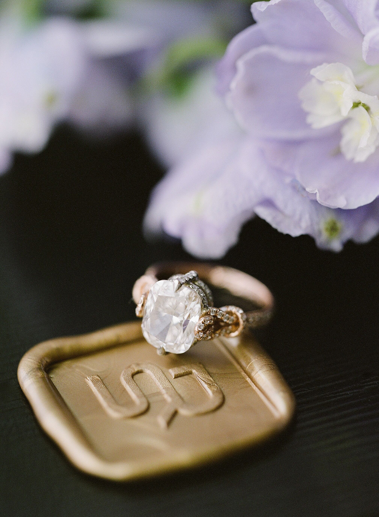 bride's engagement ring sitting on gold wax seal crest