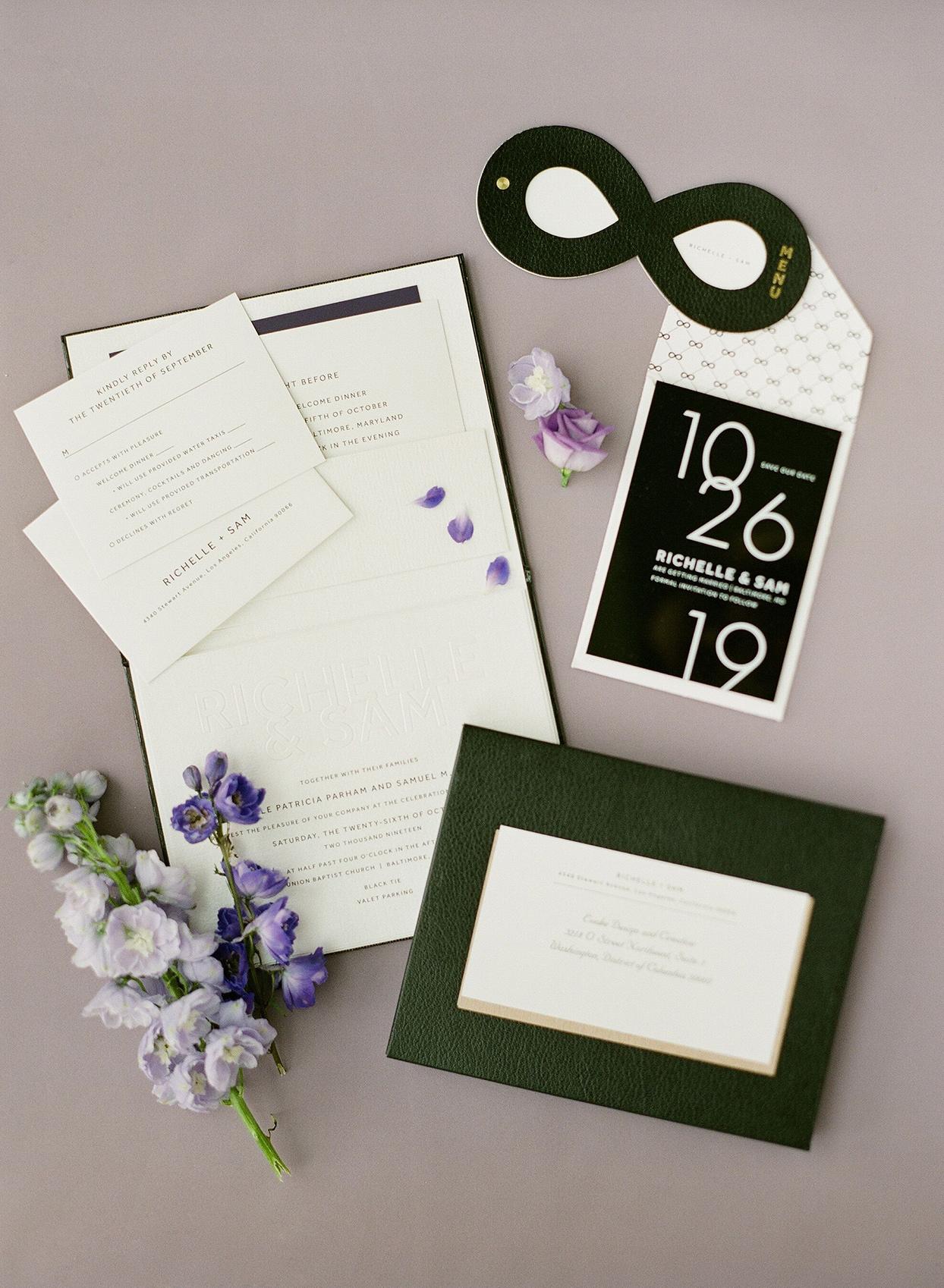 black, white, and purple elegant graphic suite