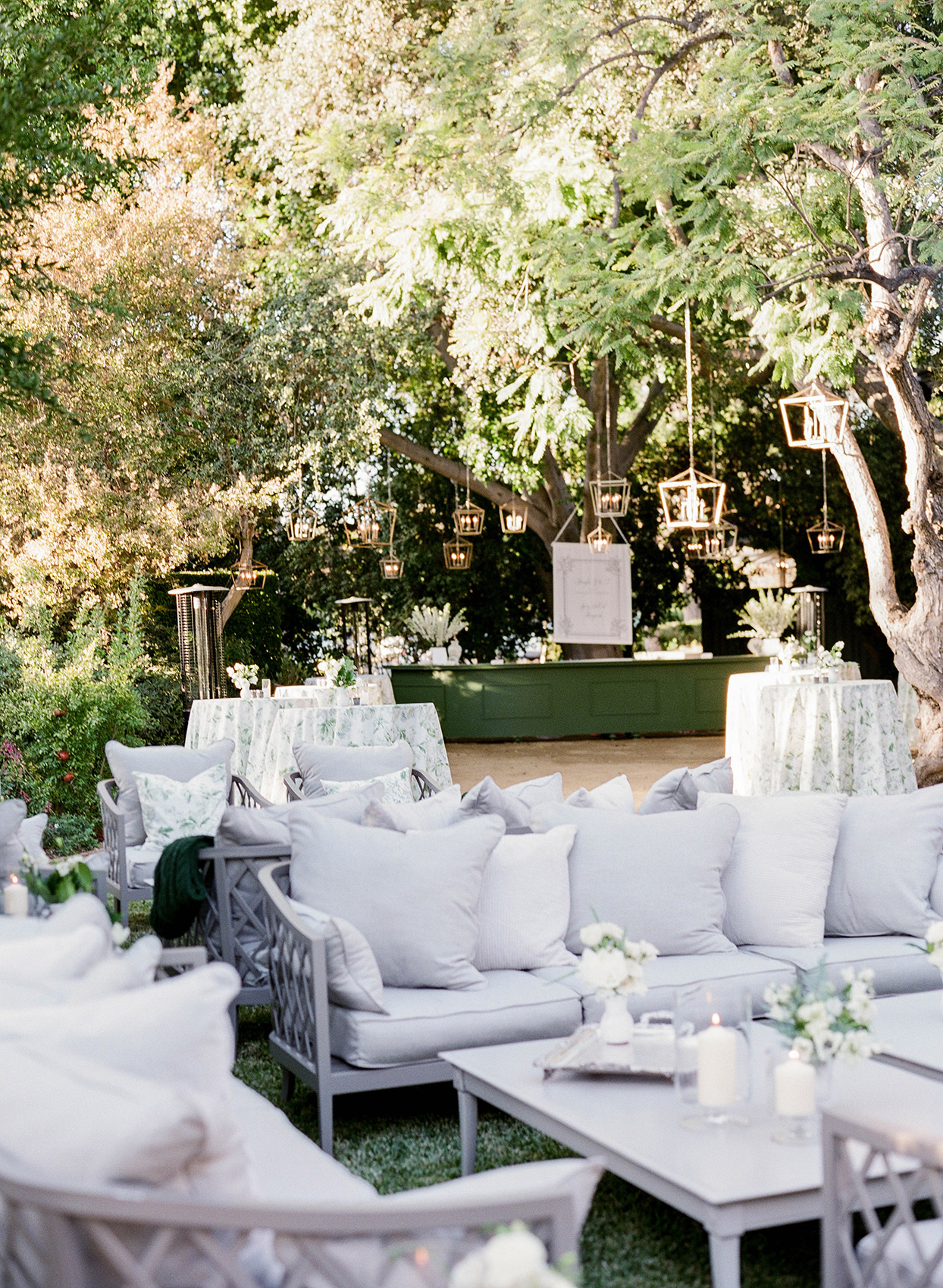 outdoor lounge area for wedding reception
