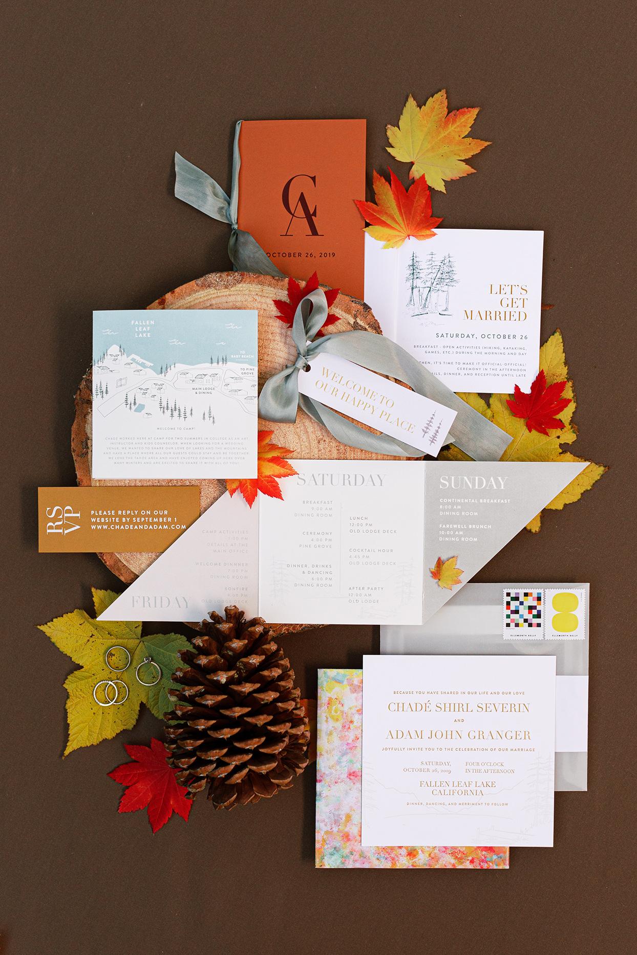 fall colored wedding invitation suite