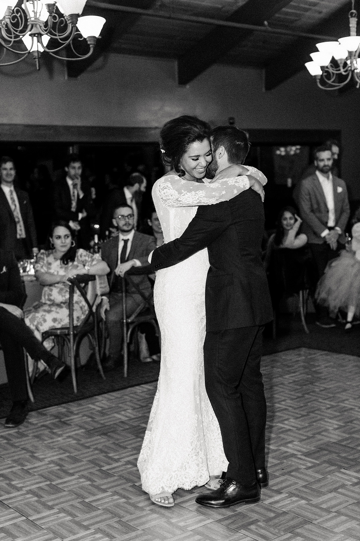 couple embracing during first dance