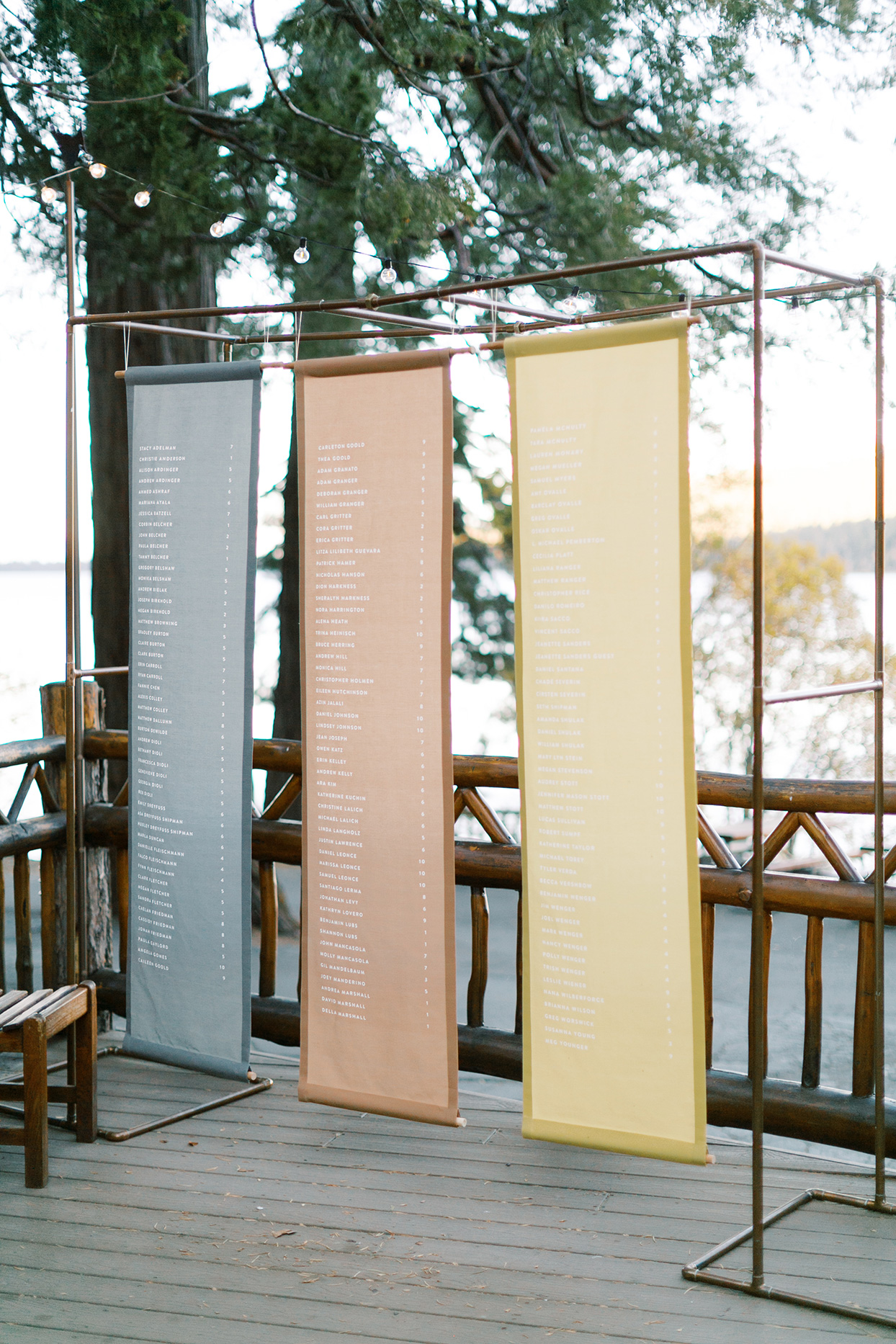 simple hanging banner seating chart for wedding reception