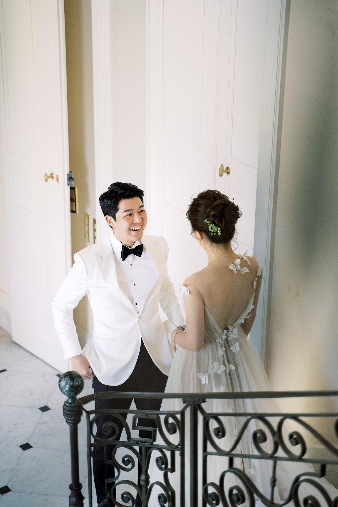 nancy sangho wedding first look couple