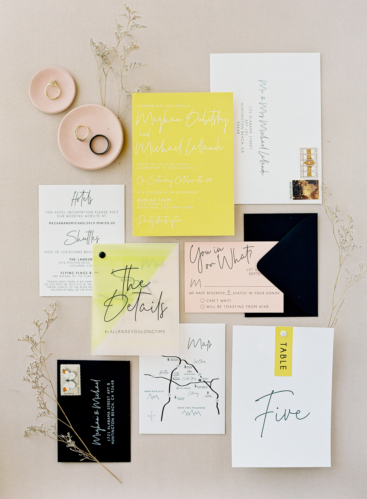 modern yellow and blush wedding stationery suite