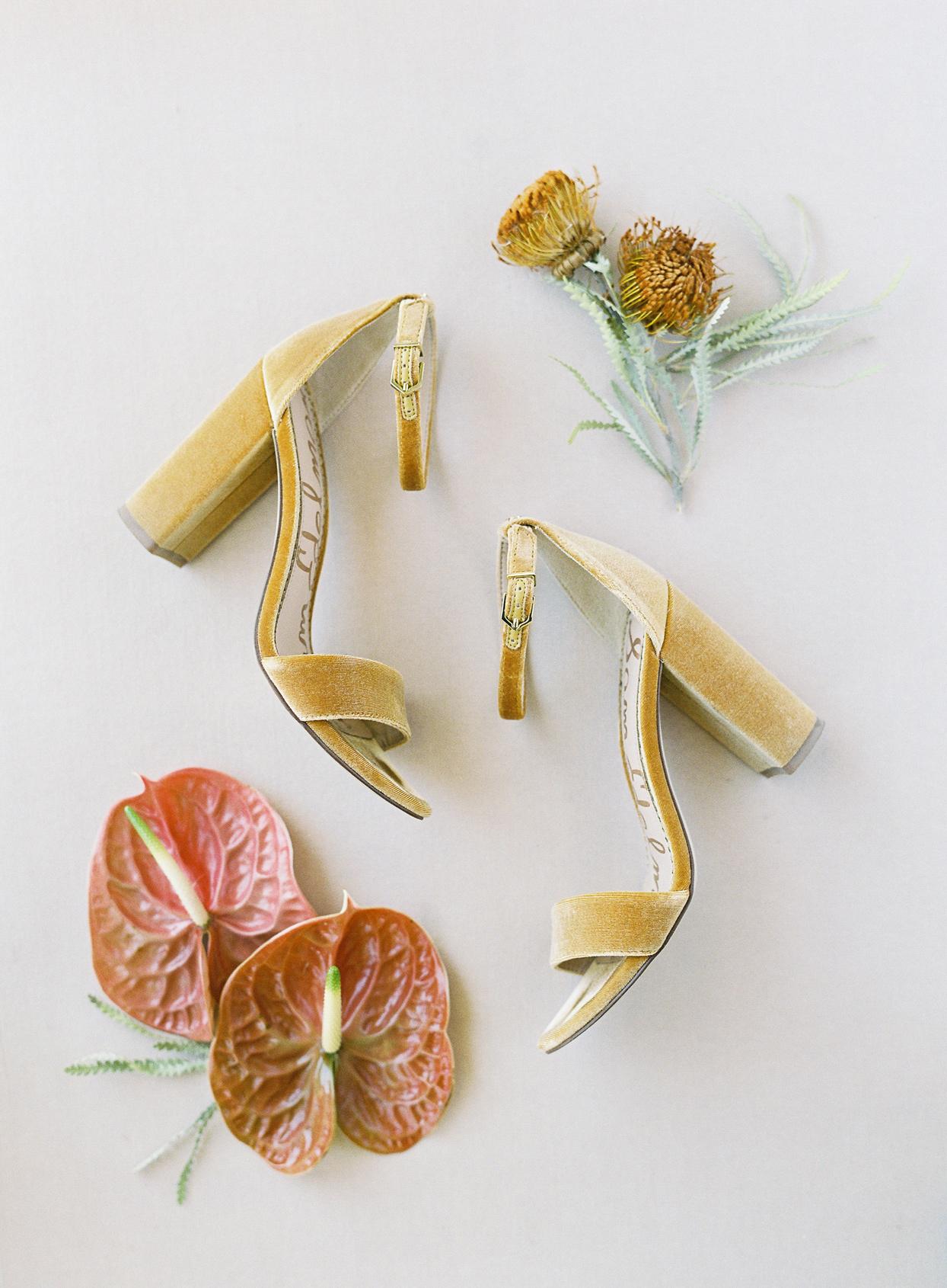 brides gold velvet wedding ceremony high heels