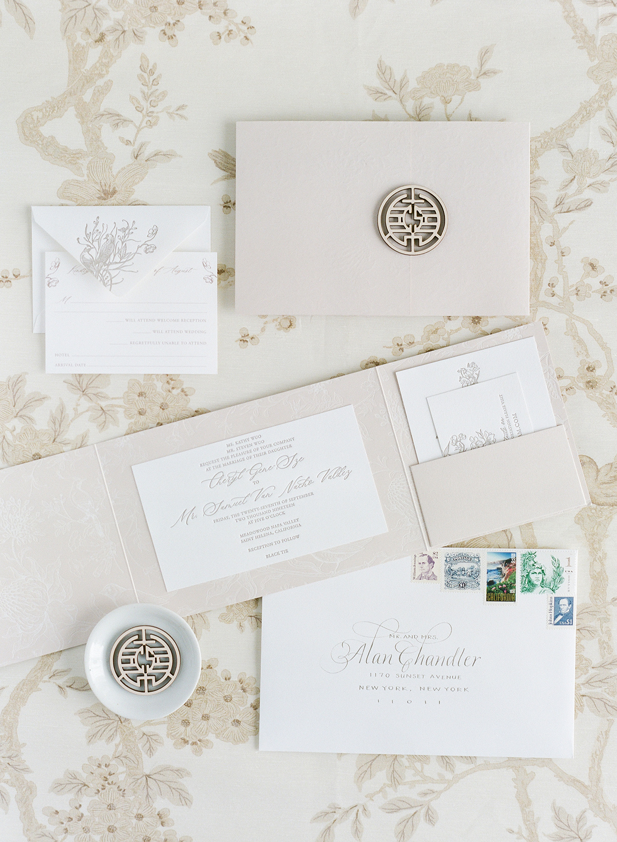 white and grey wedding invitation suite