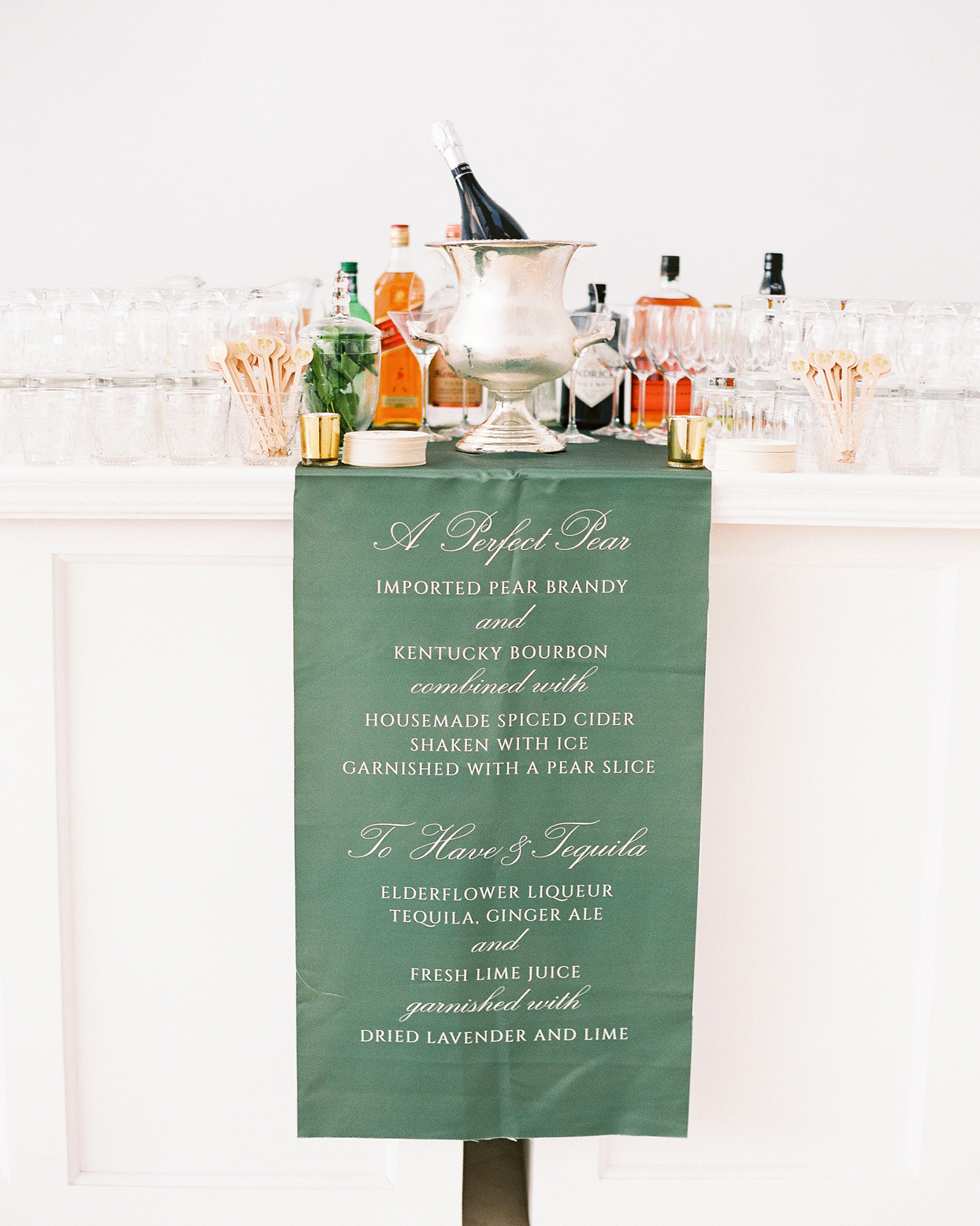 wedding cocktail hour bar menu