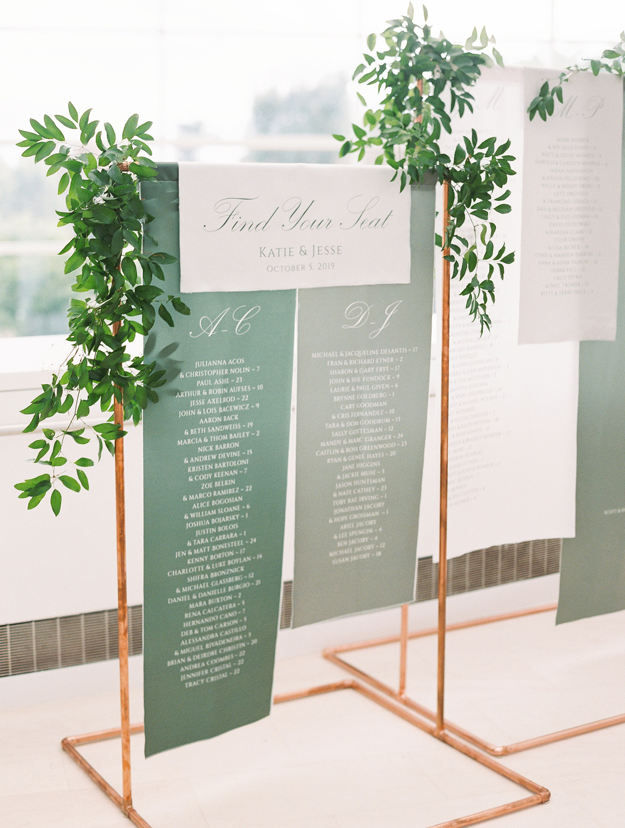 green reception seating chart wood frame