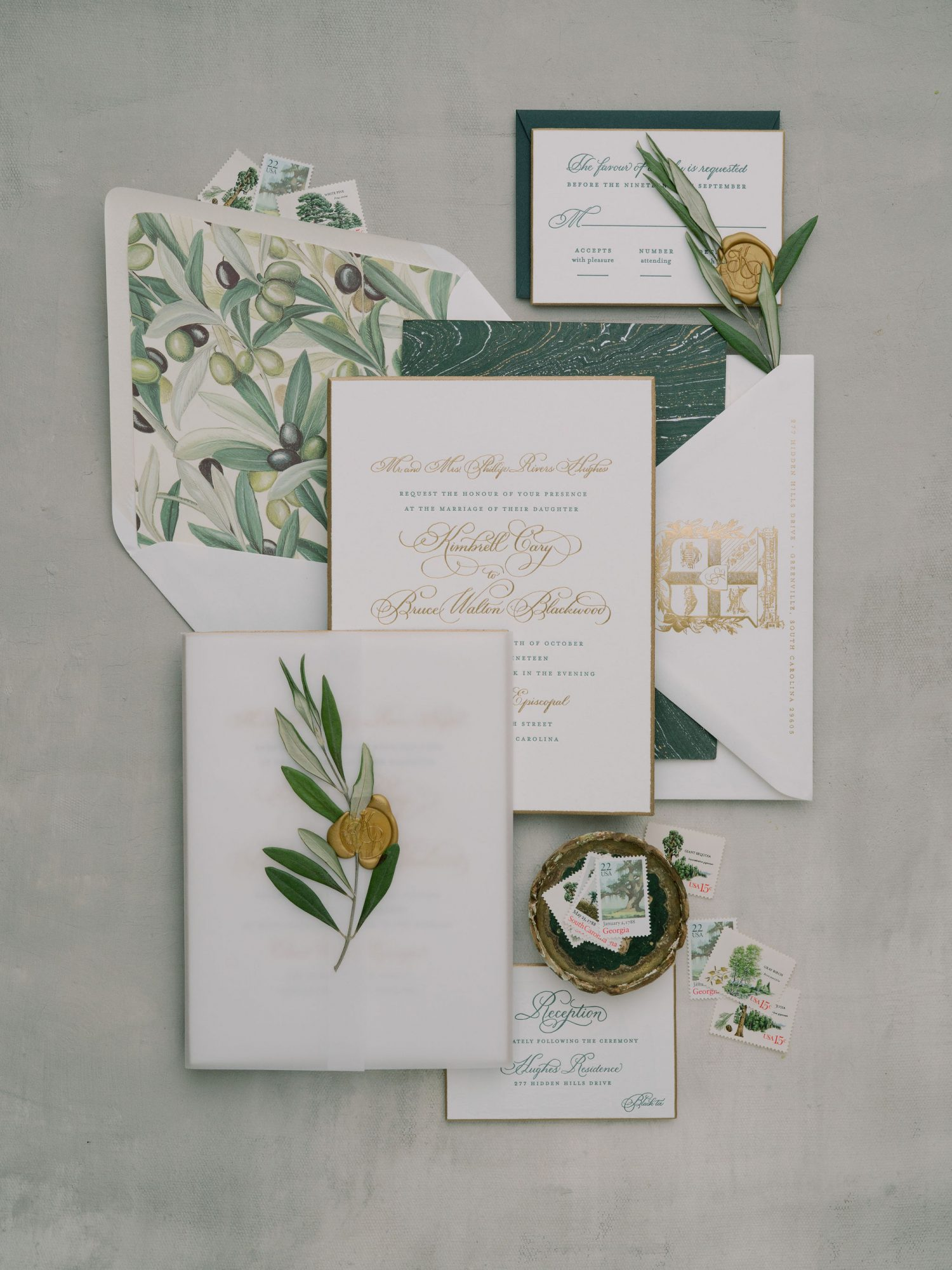 green olive branch themed wedding invites