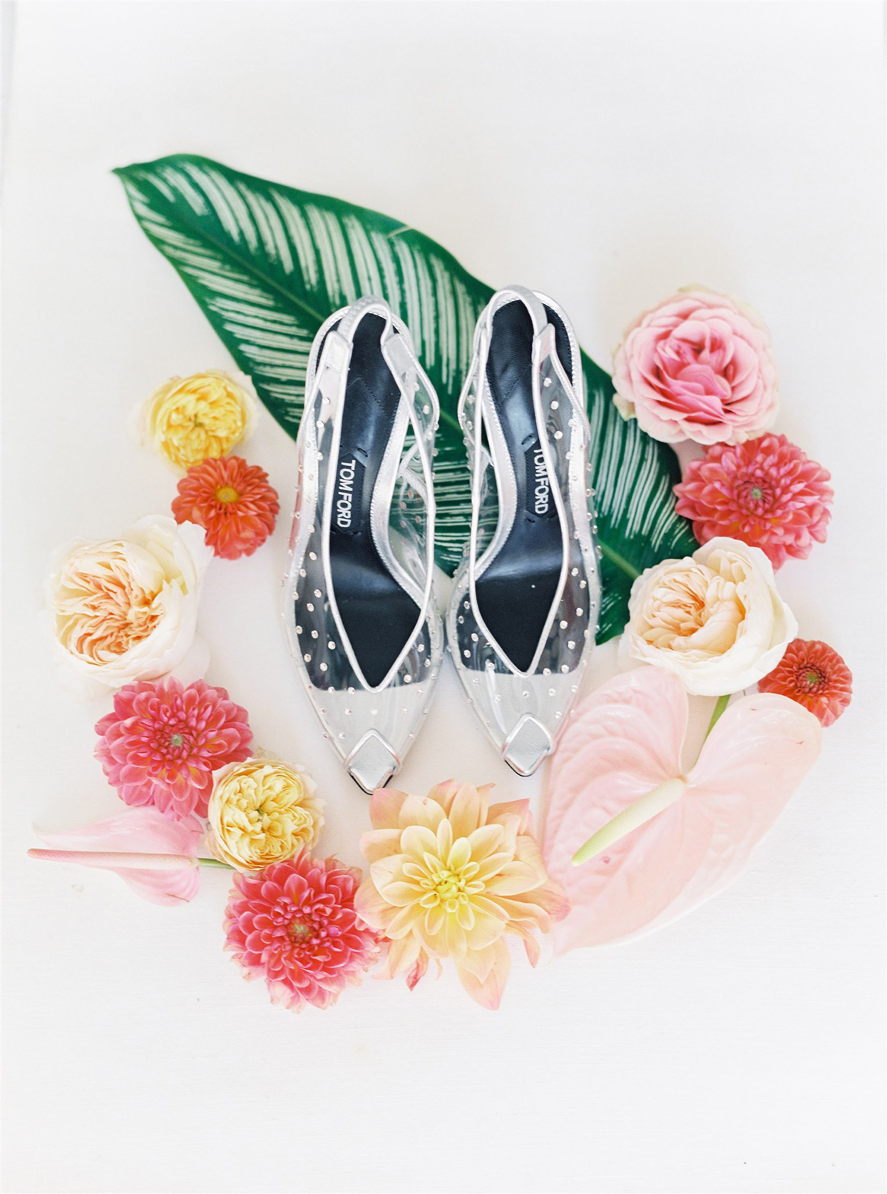clear bridal shoes with tropical pink and yellow florals