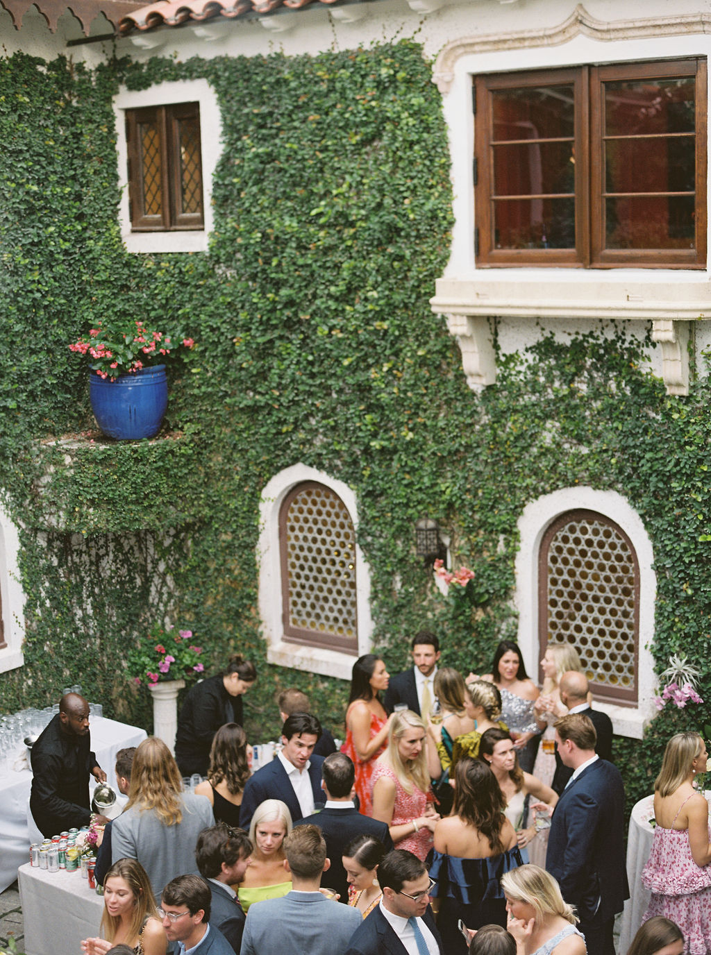 guests socializing during cocktail hour by house with vining wall