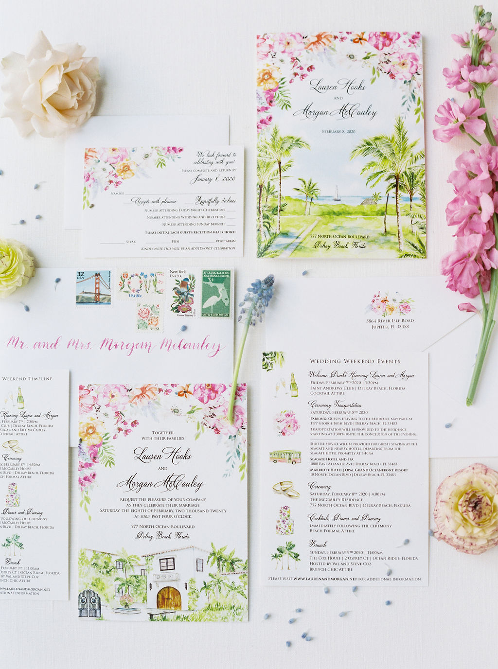 colorful floral and white wedding invitation suite