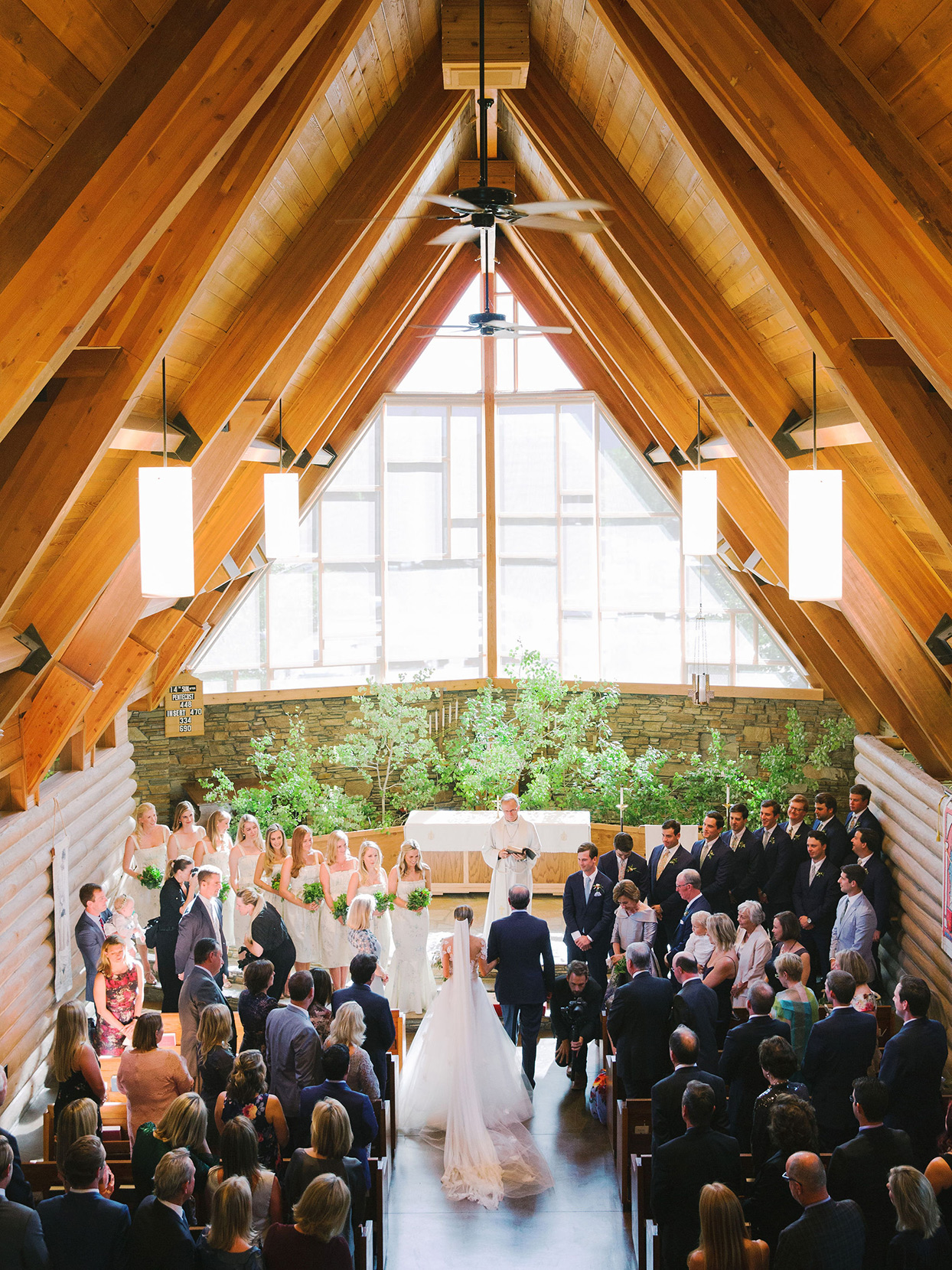 overhead view of wedding ceremony at Episcopal church