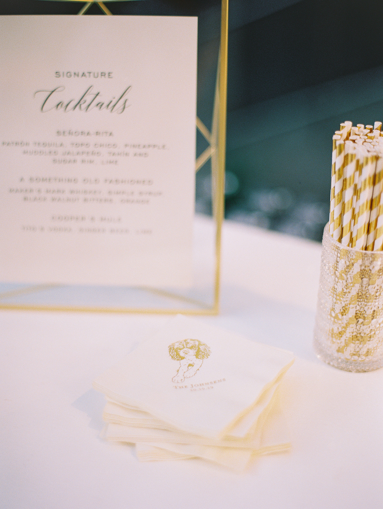 personalized cocktail napkins with golden dog