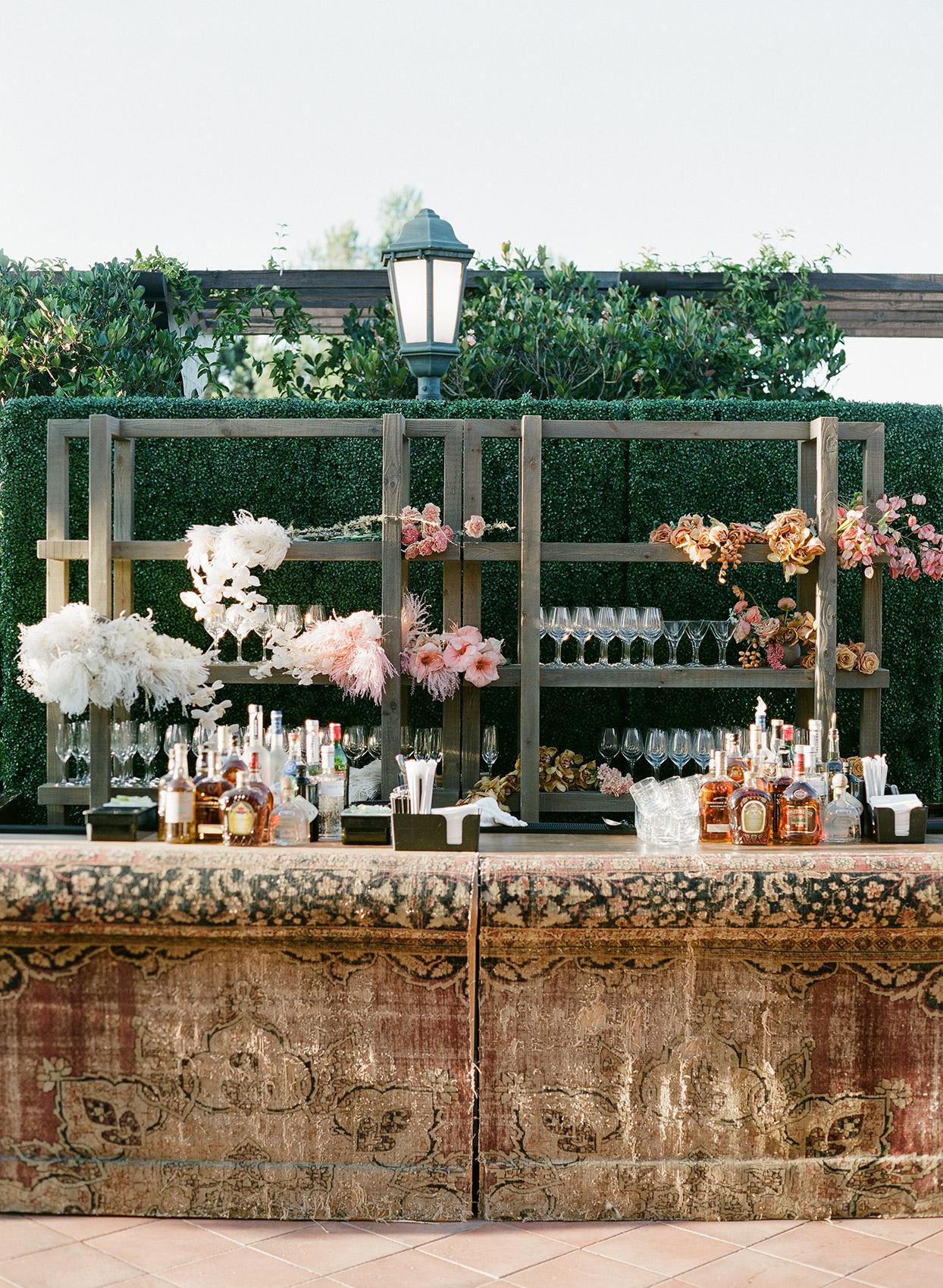 antique bar setup for wedding cocktail hour