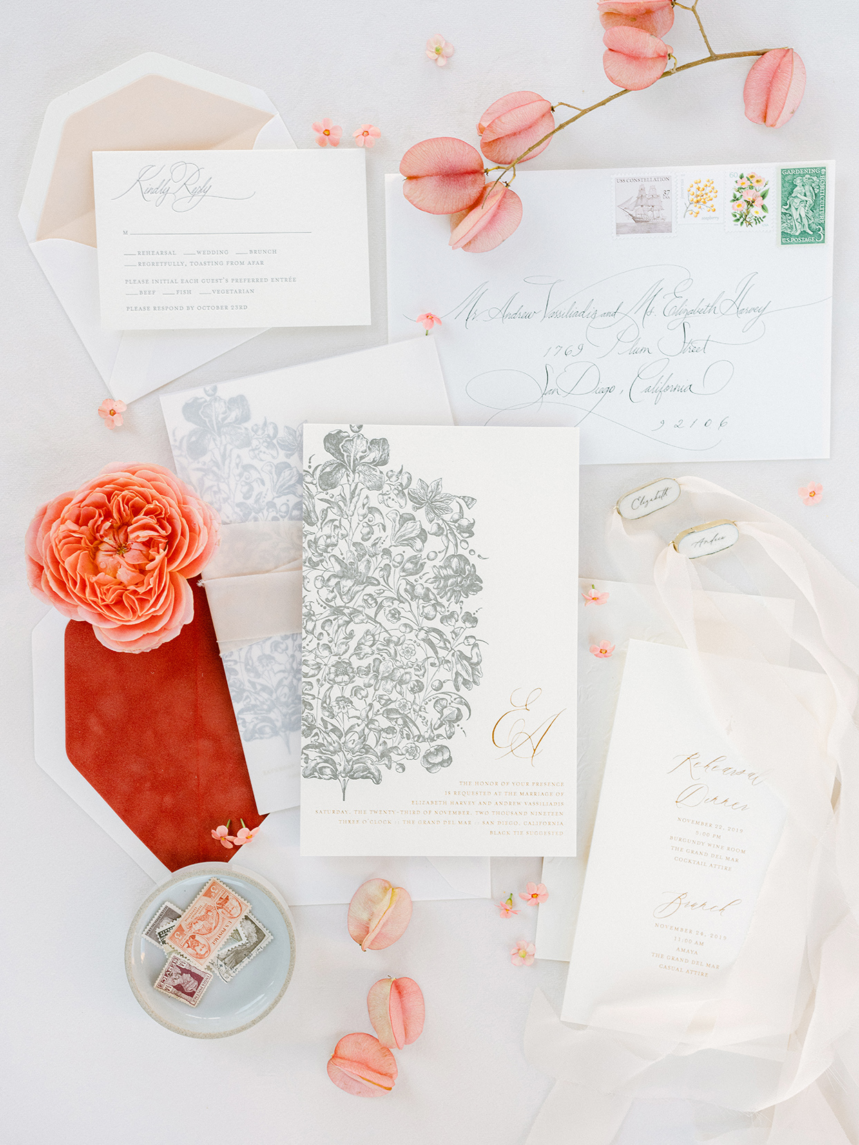elegant white and red wedding invitations