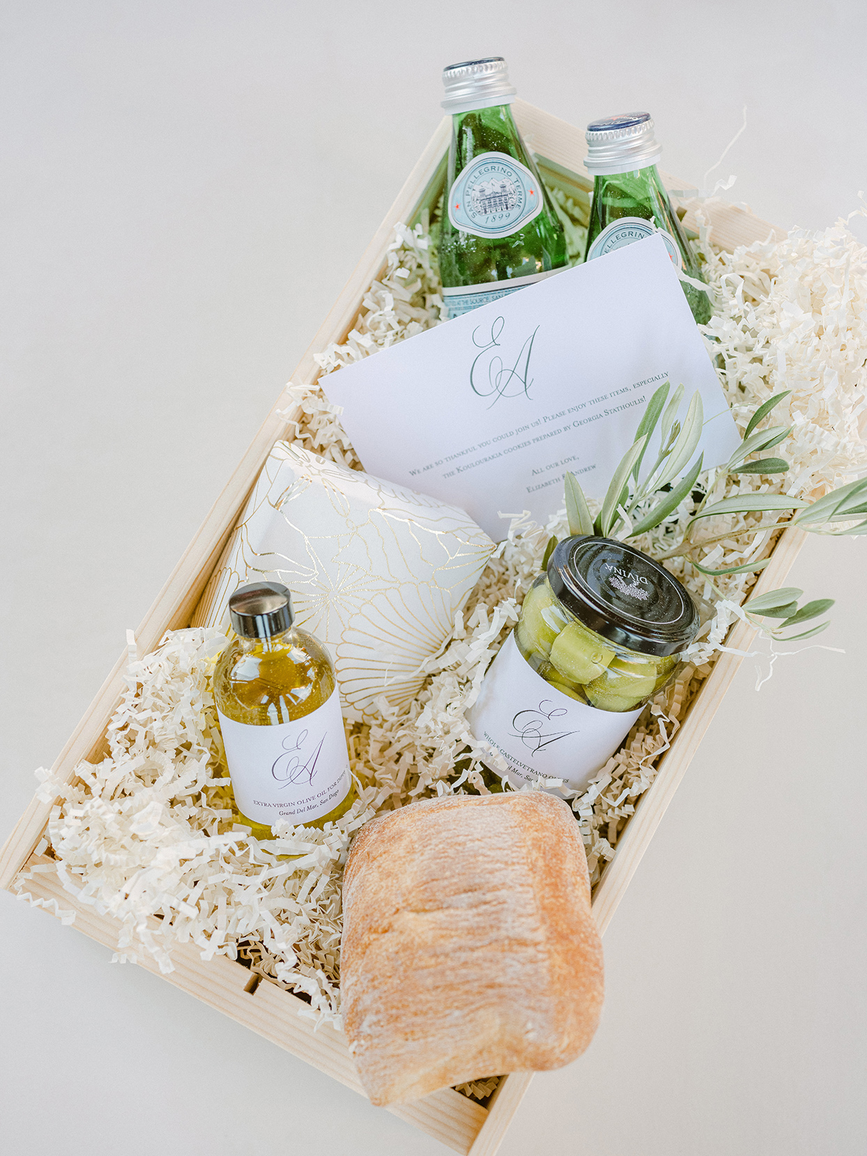wooden welcome box of wedding favors