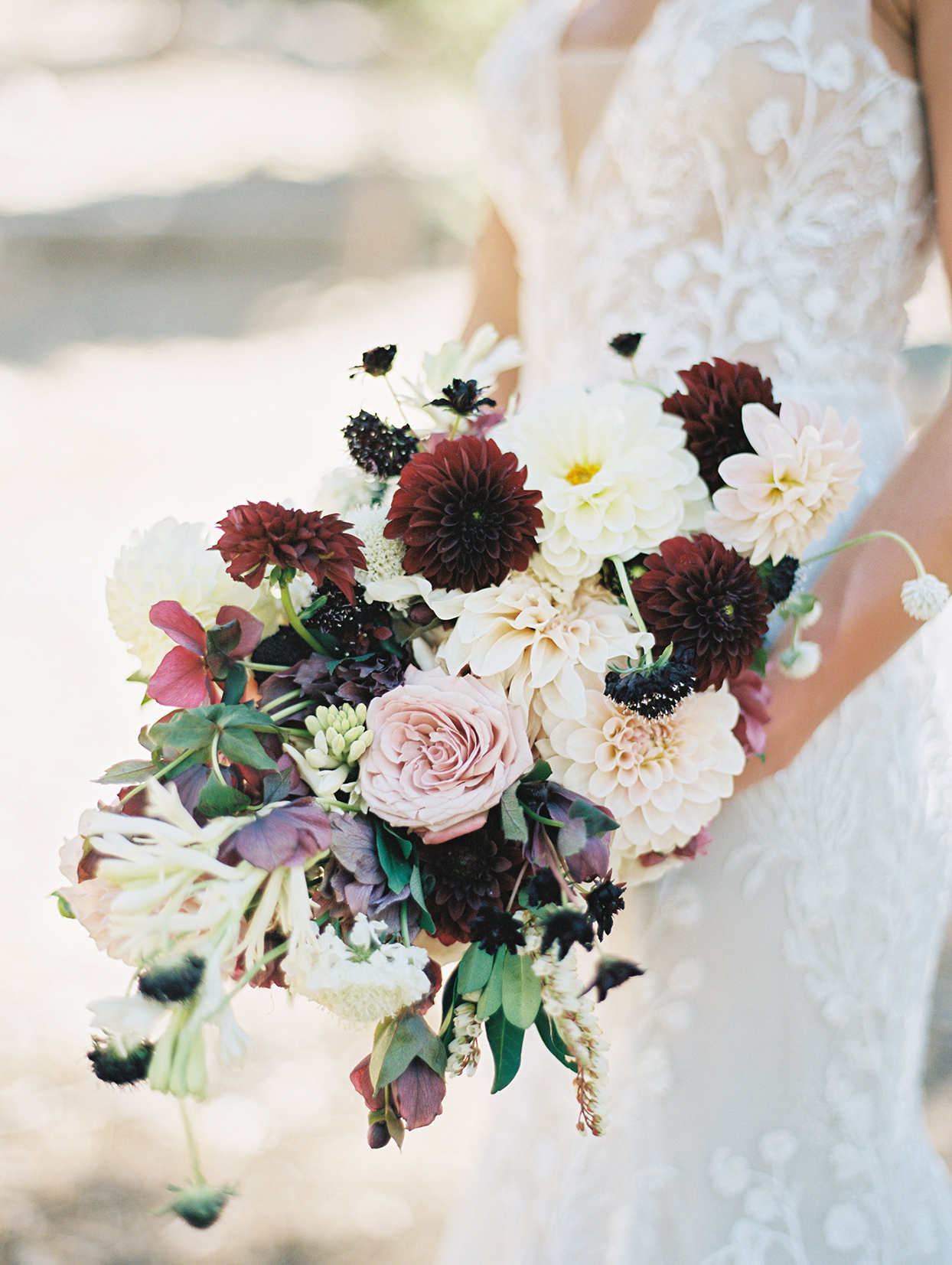 purple, burgundy and cream bridal bouquet