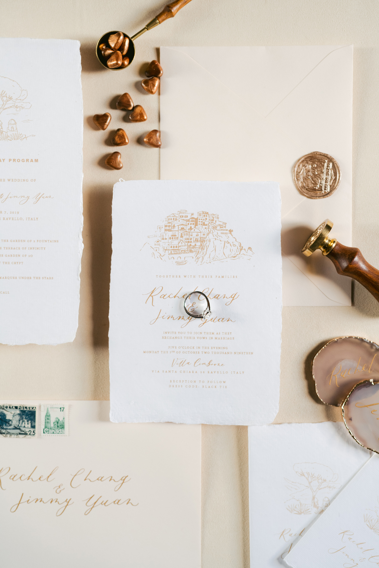 raw edge gold print stationery suite