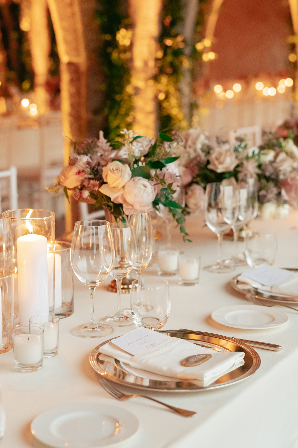 white and pink floral centerpieces reception table decor