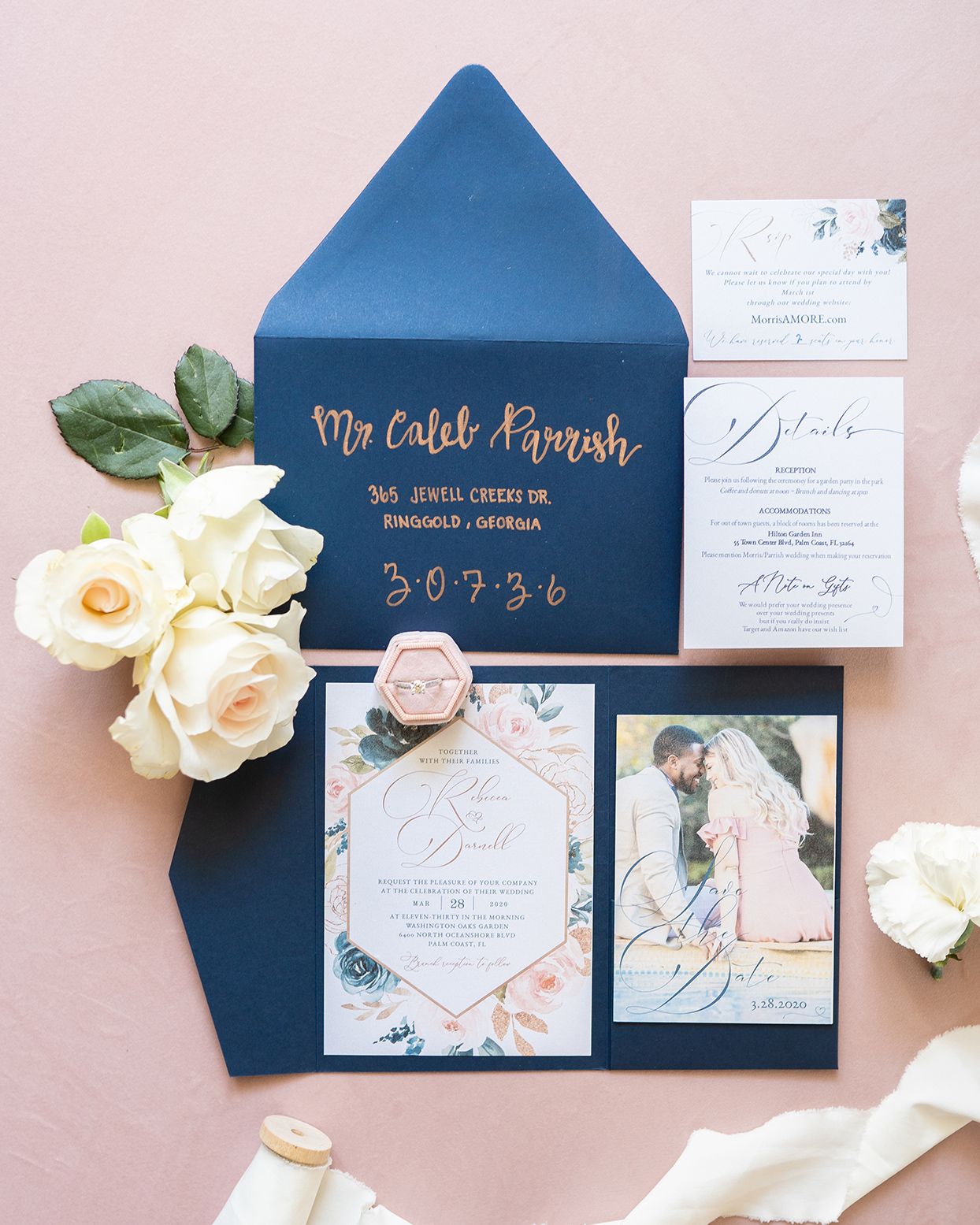 blue and pink elegant floral wedding invitations