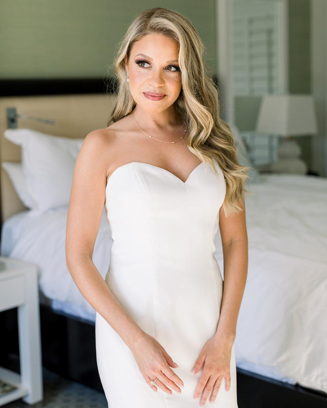 wedding bride in white sweetheart dress