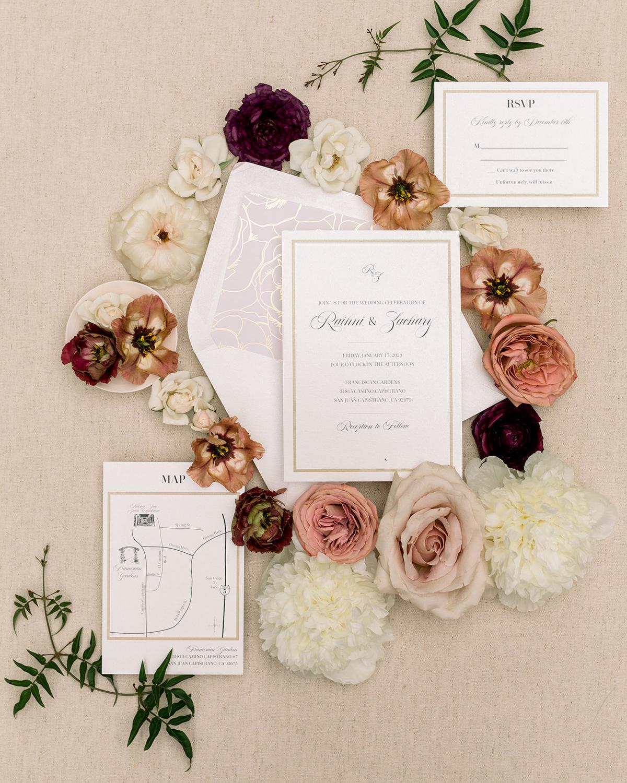 mauve and berry tones elegant wedding invitations