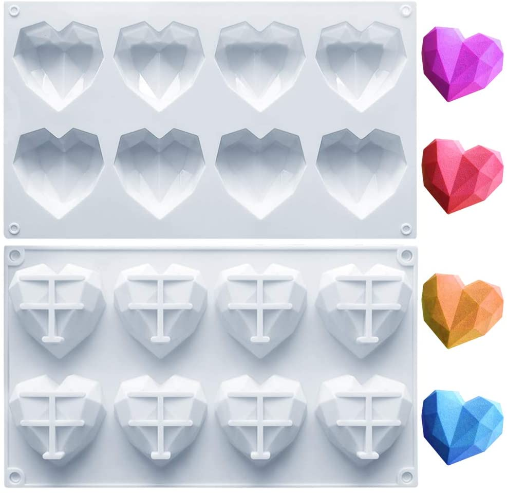 Amurgo 1 Pack Diamond Heart Silicone Mold for Chocolate Bombs