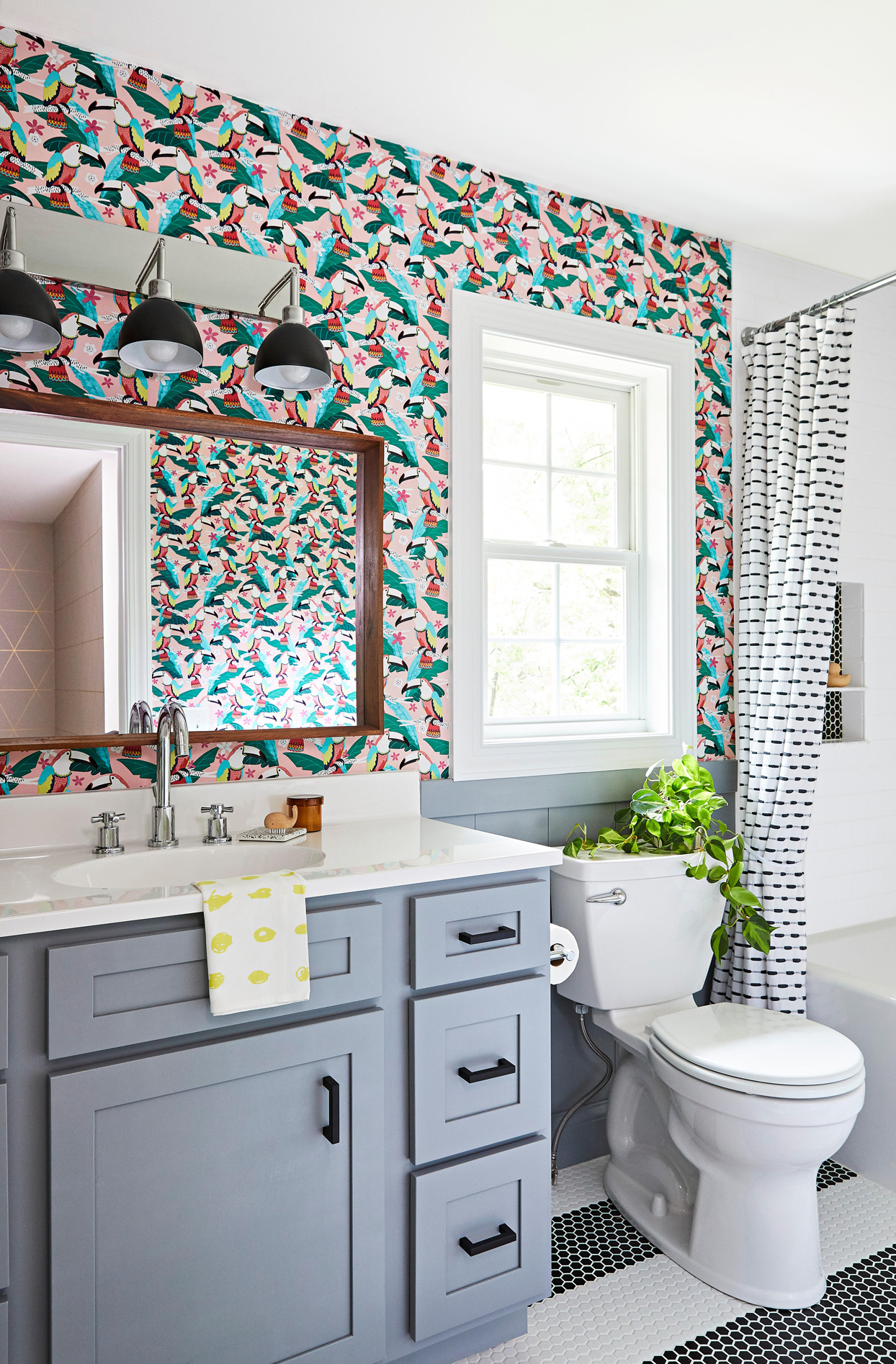 bathroom with toucan pattern wallpaper