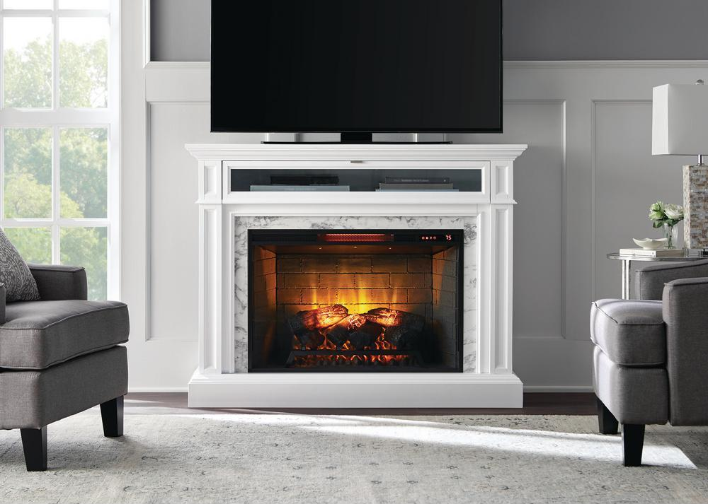 white stone electric fireplace in living room