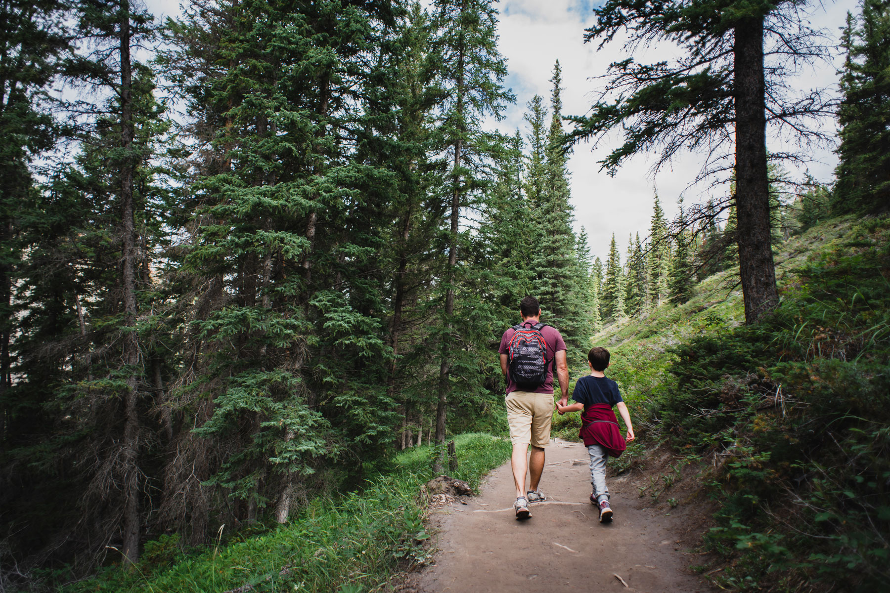 father and son hiking in a forest