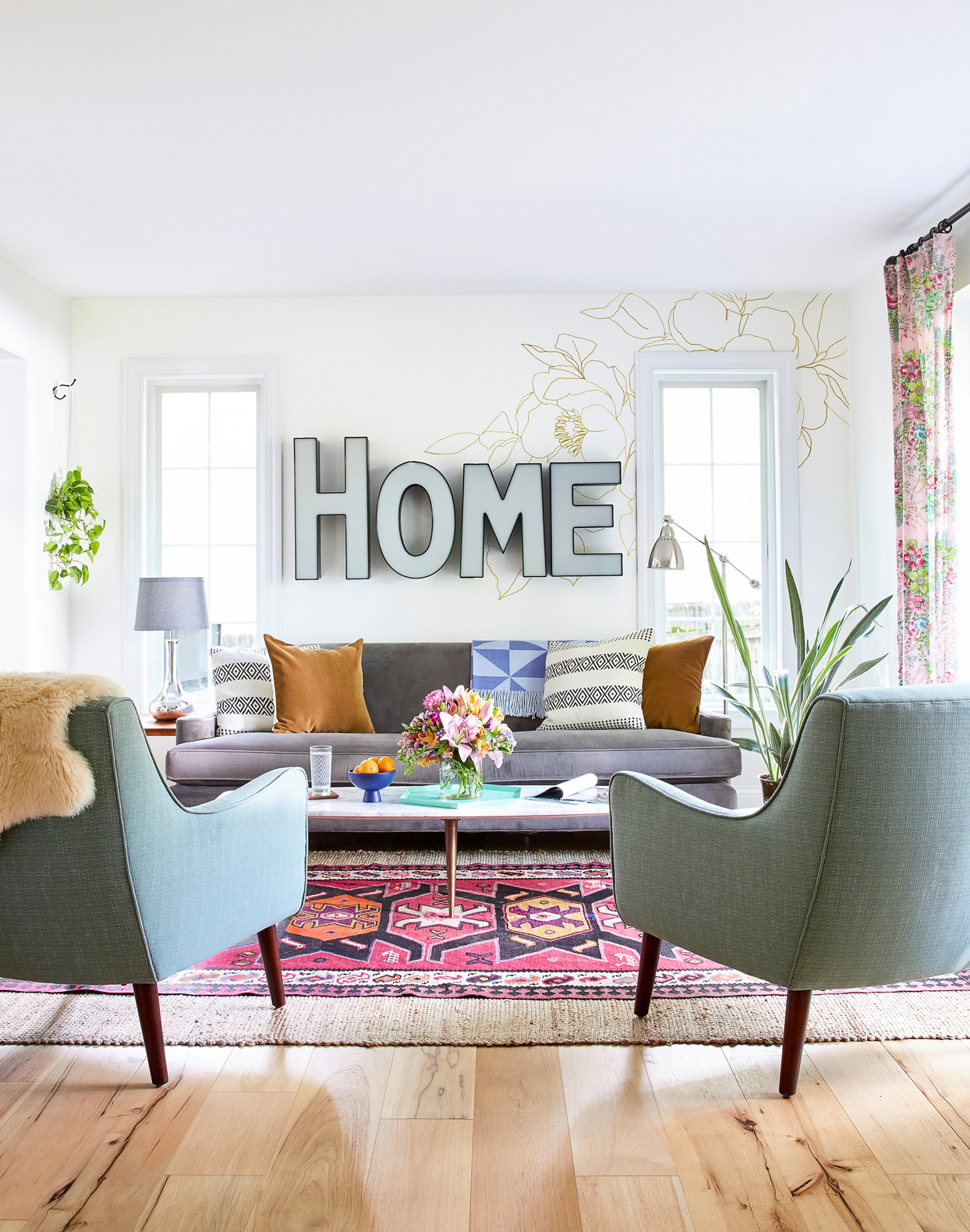 living room with salvaged marquee letters
