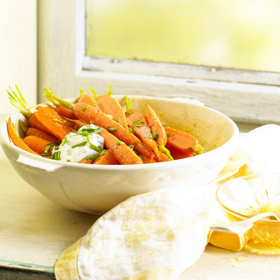 Sweet Curry Carrots with Chive Yogurt