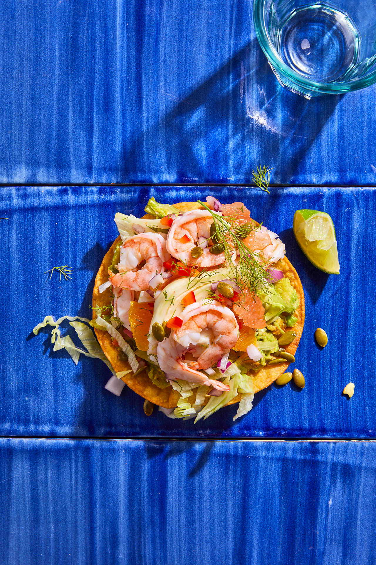 Shrimp Ceviche Tostada with Fennel and Grapefruit